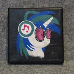 Size: 1024x1024 | Tagged: safe, artist:malte279, dj pon-3, vinyl scratch, acrylic painting, bust, portrait, traditional art