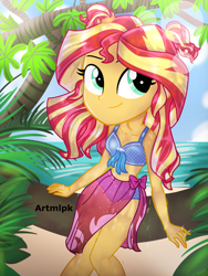 Size: 1536x2048 | Tagged: safe, artist:artmlpk, sunset shimmer, equestria girls, adorable face, adorkable, alternate hairstyle, beach, beautiful, bikini, clothes, cute, digital art, dork, female, front knot midriff, island, looking at you, looking up, midriff, ocean, pigtails, plant, sarong, shimmerbetes, sitting, smiling, smiling at you, solo, swimsuit, tree, tree branch, vacation
