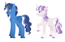 Size: 2609x1727 | Tagged: safe, artist:kittystar614, night light, twilight velvet, classical unicorn, unicorn, cloven hooves, female, leonine tail, male, nightvelvet, older, shipping, straight, unshorn fetlocks