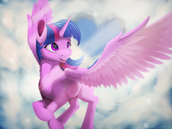 Size: 2000x1500 | Tagged: safe, artist:itssim, twilight sparkle, alicorn, pony, chest fluff, cloud, female, flying, heart, leg fluff, mare, smiling, solo, spread wings, twilight sparkle (alicorn), wings