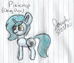 Size: 2220x1892 | Tagged: safe, artist:mlplayer dudez, oc, oc only, oc:daisy door, pony, unicorn, colored, ear fluff, female, happy, lined paper, mare, signature, sketch, smiling, solo, traditional art