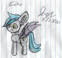 Size: 1892x1772 | Tagged: safe, artist:mlplayer dudez, oc, oc only, oc:echo, bat pony, bat pony oc, bat wings, happy, lined paper, signature, sketch, smiling, solo, traditional art, wings