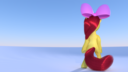 Size: 2560x1440 | Tagged: safe, anonymous artist, apple bloom, 3d, apple bloom's bow, bipedal, blender, bow, cycles, female, filly, from behind, fur, hair bow, simple background, tail