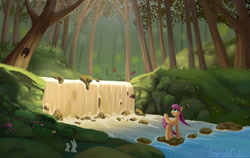 Size: 3000x1900 | Tagged: safe, artist:emeraldgalaxy, fluttershy, butterfly, deer, pegasus, pony, rabbit, squirrel, animal, female, flower, forest, mare, open mouth, rock, scenery, solo, tree, waterfall
