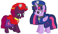 Size: 1367x805 | Tagged: safe, artist:徐詩珮, fizzlepop berrytwist, tempest shadow, twilight sparkle, alicorn, pony, unicorn, series:sprglitemplight diary, series:sprglitemplight life jacket days, series:springshadowdrops diary, series:springshadowdrops life jacket days, alternate universe, base used, chase (paw patrol), clothes, cute, female, lesbian, marshall (paw patrol), paw patrol, shipping, simple background, tempestlight, transparent background, twilight is not amused, twilight sparkle (alicorn), unamused, vector