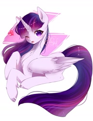 Size: 1819x2369 | Tagged: safe, artist:angelique angel, twilight sparkle, alicorn, pony, abstract background, chest fluff, colored hooves, cute, female, heart, leg fluff, looking at you, mare, no pupils, one eye closed, open mouth, pixiv, prone, solo, twiabetes, twilight sparkle (alicorn), wink