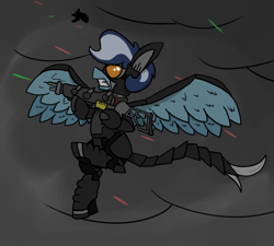 Size: 1000x900 | Tagged: safe, artist:stemthebug, oc, oc:moth gazer, pegasus, pony, fallout equestria, enclave, enclave armor, gun, male, shooting, weapon