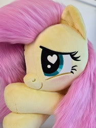 Size: 1536x2048 | Tagged: safe, artist:meplushyou, fluttershy, pegasus, pony, blushing, cute, heart eyes, irl, photo, plushie, shyabetes, smiling, solo, wingding eyes