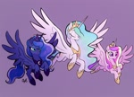 Size: 1500x1080 | Tagged: safe, artist:rollingrabbit, princess cadance, princess celestia, princess luna, alicorn, pony, alicorn triarchy, crown, ethereal mane, eyes closed, female, flowing mane, flying, hoof shoes, jewelry, mare, official fan art, peytral, regalia, smiling, spread wings, trio, wings