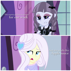 Size: 3264x3264 | Tagged: safe, artist:pcnycity3, inky rose, lily lace, equestria girls, clothes, comic, crossed arms, dress, equestria girls-ified, eyeshadow, female, implied applejack, makeup, open mouth, talking, unamused