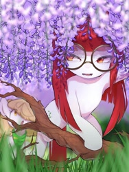 Size: 1536x2048 | Tagged: safe, artist:30clock, blossom, oc, oc only, earth pony, pony, bandana, cutie mark, duo, female, flower, glasses, grass, open mouth, tree