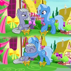 Size: 3264x3254   Tagged: safe, artist:pcnycity3, limestone pie, trixie, earth pony, pony, unicorn, the break up breakdown, comic, eyes closed, female, friendship, hug, lesbian, looking at each other, mare, present, raised hoof, shipping, sitting, smiling, trixstone