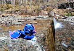Size: 2048x1404   Tagged: safe, photographer:pakapaka1993, princess luna, irl, japan, photo, plushie, river, solo, waterfall