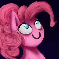Size: 1000x1000 | Tagged: safe, artist:slamjam, pinkie pie, bloodshot eyes, crying, gradient background, mouth paint, no mouth, solo, tears of joy