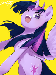 Size: 960x1280 | Tagged: safe, artist:30clock, twilight sparkle, alicorn, pony, cute, female, mare, one eye closed, open mouth, simple background, solo, spread wings, twiabetes, twilight sparkle (alicorn), wings, wink, yellow background