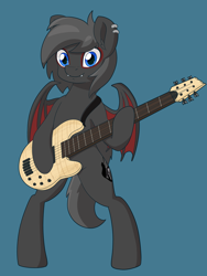 Size: 6000x8000 | Tagged: safe, artist:imposter dude, oc, oc:dark the batpony, bat pony, pony, bass guitar, bat pony oc, bat wings, commission, looking at you, male, musical instrument, simple background, solo, standing, wings