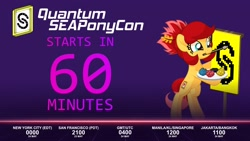 Size: 1920x1080 | Tagged: safe, artist:seaponycon, oc, oc:rosa blossomheart, project seaponycon, 60, bipedal, timer