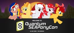 Size: 1408x640 | Tagged: safe, artist:seaponycon, oc, oc:indonisty, oc:kwankao, oc:pearl shine, oc:rosa blossomheart, oc:temmy, project seaponycon, indonesia, nation ponies, philippines, singapore