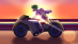 Size: 1192x670 | Tagged: safe, artist:riouku, spike, sweetie belle, human, commission, devilman crybaby, female, humanized, male, motorcycle, shipping, spikebelle, straight, sunset