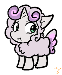 Size: 341x413   Tagged: safe, artist:zutcha, sweetie belle, pony, sheep, unicorn, animal costume, clothes, costume, sheepie belle, simple background, solo, transparent background