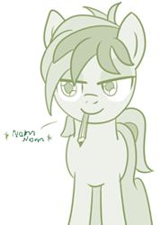Size: 195x272 | Tagged: safe, artist:sintakhra, sandbar, earth pony, pony, tumblr:studentsix, cropped, eating, mouth hold, nom, pencil
