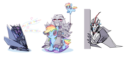 Size: 1504x700 | Tagged: safe, artist:yrxcl, rainbow dash, pegasus, pony, balloon, megatron, rocking horse, singing, soundwave, starscream, text, transformers, transformers prime