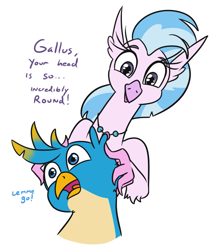 Size: 675x800 | Tagged: safe, artist:jargon scott, gallus, silverstream, griffon, hippogriff, bust, dialogue, hands on head, head, logic, portrait, simple background, white background