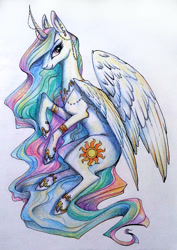 Size: 1062x1500 | Tagged: safe, artist:28gooddays, princess celestia, alicorn, pony, bracelet, colored pencil drawing, ear piercing, earring, female, gradient background, horn, horn jewelry, jewelry, looking at you, mare, piercing, regalia, solo, traditional art