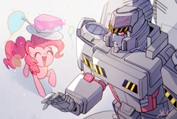 Size: 809x547 | Tagged: safe, artist:yrxcl, pinkie pie, earth pony, pony, balloon, cake, food, megatron, transformers