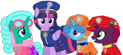 Size: 1973x892 | Tagged: safe, artist:徐詩珮, fizzlepop berrytwist, glitter drops, spring rain, tempest shadow, twilight sparkle, alicorn, unicorn, series:sprglitemplight diary, series:sprglitemplight life jacket days, series:springshadowdrops diary, series:springshadowdrops life jacket days, alternate universe, base used, bisexual, broken horn, chase (paw patrol), clothes, cute, female, glitterbetes, glitterlight, glittershadow, horn, lesbian, lifeguard, lifeguard spring rain, marshall (paw patrol), paw patrol, polyamory, shipping, simple background, skye (paw patrol), sprglitemplight, springbetes, springdrops, springlight, springshadow, springshadowdrops, tempestbetes, tempestlight, transparent background, twilight sparkle (alicorn), zuma (paw patrol)