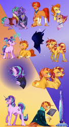 Size: 2172x4000 | Tagged: safe, artist:bunnari, fire flare, firelight, starlight glimmer, stellar flare, stormy flare, sunburst, sunset shimmer, oc, oc:gloomy spirit, pony, unicorn, baby, baby pony, book, brother and sister, colt, colt sunburst, crying, equal cutie mark, facial hair, female, filly, filly starlight glimmer, filly sunset shimmer, foal, gay, goatee, headcanon, magic, male, male oc, mare, mirror, s5 starlight, siblings, silhouette, stallion, sunny siblings, younger