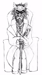 Size: 1280x2298 | Tagged: safe, artist:hispurpleness, oc, oc:hardhoof af grye, earth pony, angry, beard, big dog, cane, chair, clothes, deranged, earth pony oc, facial hair, headcanon, history, longcoat, medals, monochrome, politician, regent, scary, ugly