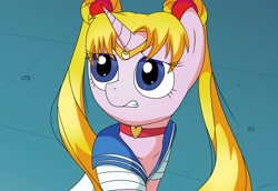 Size: 2900x2000   Tagged: safe, artist:wolftendragon, pony, unicorn, anime, bust, crossover, drawing, ponified, sailor moon, sailor moon redraw meme, serena tsukino, solo, wide eyes, worried