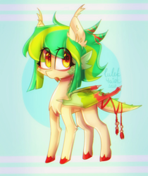 Size: 960x1142 | Tagged: safe, artist:lulek4aiok, oc, oc only, unnamed oc, dracony, dragon, hybrid, pony, colored hooves, commission, dragon tail, ear fluff, female, forked tongue, looking at you, multicolored mane, signature, solo, tail wrap, tongue out, wings, ych result