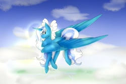 Size: 1280x854 | Tagged: safe, artist:thelonelykitsune, oc, oc:fleurbelle, alicorn, alicorn oc, bow, cloud, cloudy, female, flying, hair bow, horn, mare, sky, wings, yellow eyes