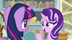 Size: 1920x1080 | Tagged: safe, screencap, starlight glimmer, twilight sparkle, alicorn, pony, unicorn, a horse shoe-in, book, bookshelf, duo, female, globe, mare, scroll, starlight's office, twilight sparkle (alicorn)