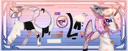 Size: 6828x2738 | Tagged: safe, artist:angry pumpkin, artist:sujino, oc, oc only, unnamed oc, original species, shark, shark pony, belt, body markings, clothes, collar, colored hooves, ear piercing, earring, female, horn, jewelry, makeup, multicolored eyes, multicolored mane, necklace, nose piercing, piercing, raised hoof, reference sheet, shark tail, shirt, shorts, solo, tail wrap