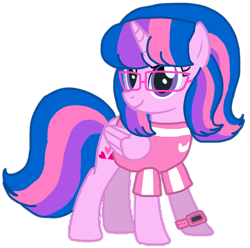 Size: 1016x1009 | Tagged: safe, alternate version, artist:徐詩珮, oc, oc only, oc:hsu amity, alicorn, alicorn oc, base used, glasses, horn, simple background, transparent background, vector, wings