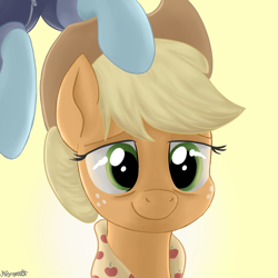 Size: 1024x1024 | Tagged: safe, artist:caulfieldsprice, applejack, rainbow dash, earth pony, pegasus, pony, the last problem, apple, appledash, applejack's hat, cowboy hat, female, flying, food, freckles, granny smith's scarf, green eyes, hat, hooves, lesbian, light, mare, older, older applejack, older rainbow dash, shipping, smiling