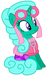 Size: 604x981 | Tagged: safe, artist:徐詩珮, glitter drops, pony, unicorn, series:sprglitemplight diary, series:sprglitemplight life jacket days, series:springshadowdrops diary, series:springshadowdrops life jacket days, alternate universe, base used, clothes, cute, paw patrol, simple background, skye (paw patrol), transparent background, vector