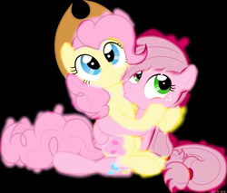 Size: 732x624 | Tagged: artist needed, source needed, safe, edit, applejack, fluttershy, pinkie pie, earth pony, applejack's hat, applepie, cowboy hat, duo, female, flutterpie, fusion, hat, kissing, lesbian, mare, recolor, shipping
