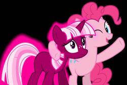 Size: 732x493 | Tagged: artist needed, safe, pinkie pie, twilight sparkle, earth pony, pony, unicorn, duo, female, freckles, mare, missing cutie mark, one eye closed, pink twilight sparkle, recolor, smiling, unicorn twilight, wink, worried