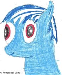 Size: 874x1050 | Tagged: safe, artist:henbasket, oc, oc:evening mist, pegasus, pony, bust, colored pencil drawing, colt, cute, male, ocbetes, pegasus oc, portrait, solo, traditional art