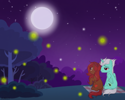 Size: 2500x2000   Tagged: safe, artist:kim0508, oc, oc only, oc:legend, oc:miss apple, alicorn, earth pony, firefly (insect), insect, pony, apple, blanket, bush, food, moon, night, shipping, smiley face, stars, tree