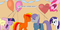 Size: 6000x2981 | Tagged: safe, artist:eagc7, fluttershy, maud pie, pinkie pie, rarity, twilight sparkle, oc, oc:asteroid angus, balloon, birthday, canon x oc, commission, female, kissing, male, shipping, straight