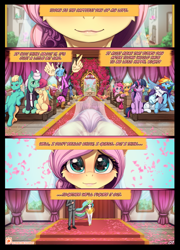 Size: 714x994 | Tagged: safe, artist:alcor, applejack, discord, fluttershy, gentle breeze, pinkie pie, posey shy, princess celestia, rainbow dash, rarity, twilight sparkle, zephyr breeze, oc, oc:anon, alicorn, draconequus, human, pegasus, pony, unicorn, comic:hearts aflutter, cheek fluff, cute, explicit description, explicit source, female, foam finger, lips, looking at you, mare, marriage, mask, pretty eyes, rcf community, reflection, shyabetes, smiling, twilight sparkle (alicorn), wedding, wedding veil