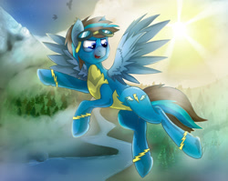 Size: 3182x2531 | Tagged: safe, artist:jesterpi, oc, oc:iceberg skystriker, pegasus, bolts, clothes, cloud, dirt, flying, goggles, grass, mist, mountain, river, scenery, sky, smiling, snow, sun, tree, uniform, wings, wonderbolts, wonderbolts uniform