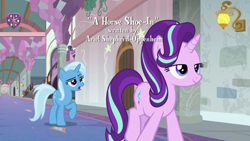Size: 1920x1080 | Tagged: safe, screencap, starlight glimmer, trixie, pony, unicorn, a horse shoe-in, duo, female, mare, opening credits, school of friendship