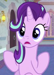 Size: 448x623   Tagged: safe, screencap, starlight glimmer, pony, unicorn, a horse shoe-in, cropped, female, mare, school of friendship, solo