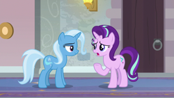 Size: 1920x1080   Tagged: safe, screencap, starlight glimmer, trixie, pony, unicorn, a horse shoe-in, duo, female, mare, raised hoof, school of friendship